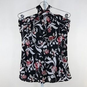 White House Black Market Rose Print Halter Top